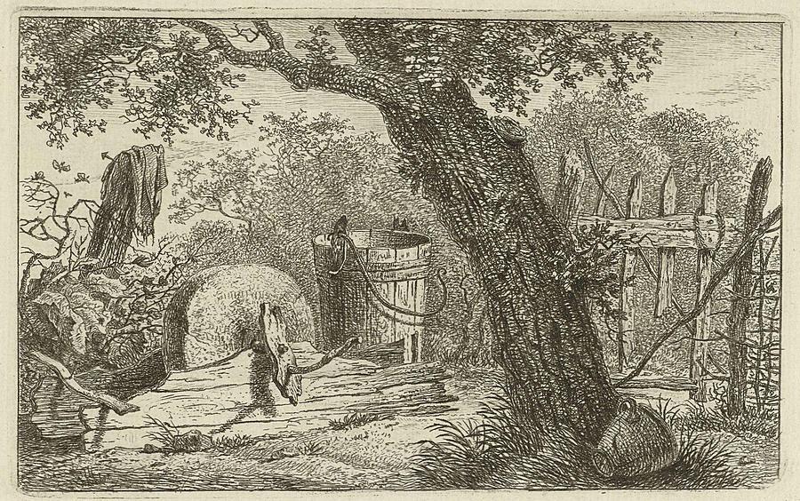 Landscape With Grindstone Print Maker Hermanus Fock Drawing By