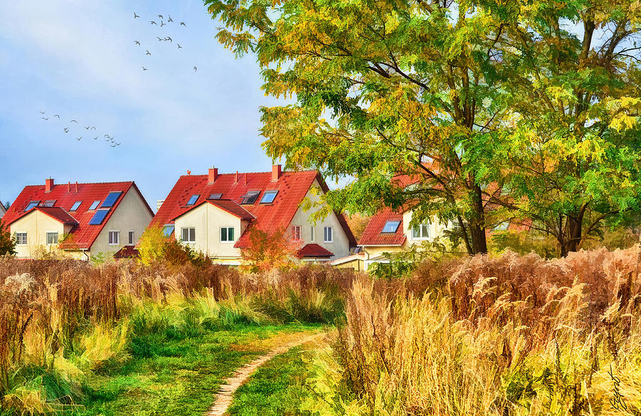 Landscape Digital Art - Landscape With Houses by Gynt