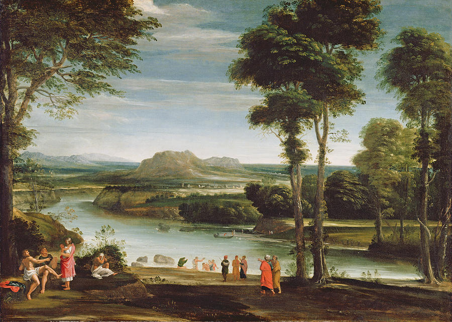 River Painting - Landscape With St. John Baptising by Domenichino