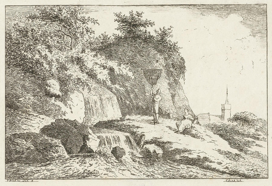 1828 Drawing - Landscape With Waterfall And Church, Baron Reinierus by Artokoloro