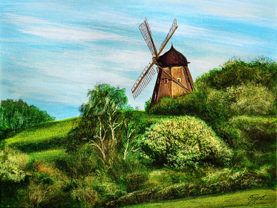 Landscape Painting - Landscape With Windmill by Gynt Art