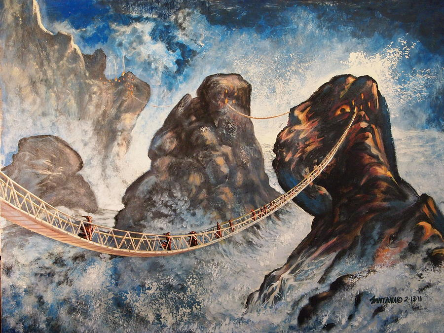 Icy Mountains Jutting Cliffs Rope Bridge Heights Snow Snowy Village Painting - Landscape Within My Mind by Dayna Reed