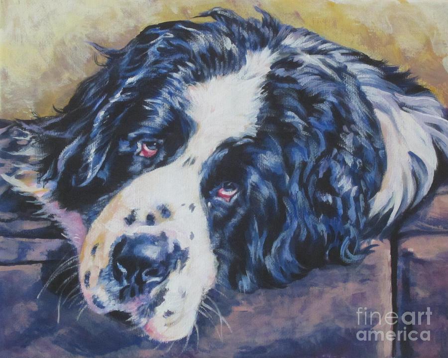 Landseer Newfoundland dog art  print of LA Shepard dog painting 12x16
