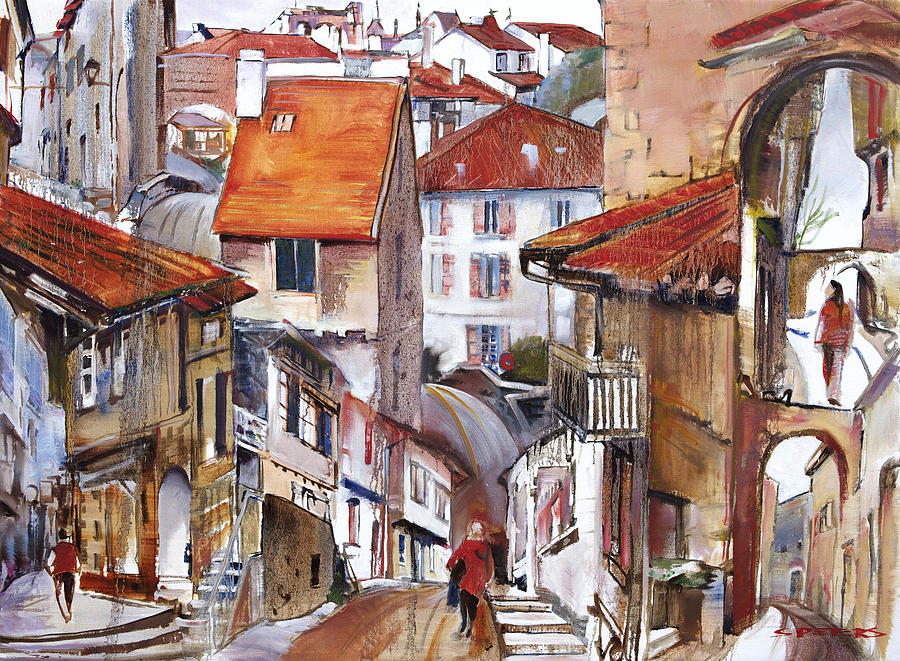 Landscape Painting - Laneways Of Nerac by Shirley  Peters