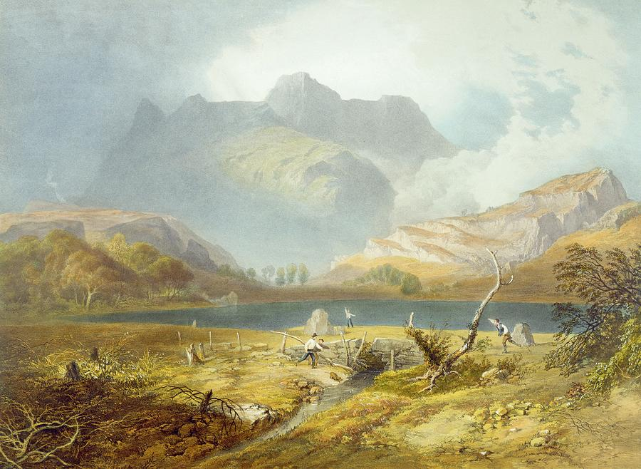 Print Drawing - Langdale Pikes, From The English Lake by James Baker Pyne