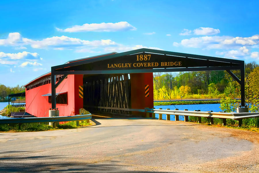 Langley Covered Bridge Photograph - Langley Covered Bridge - Michigan by Pat Cook