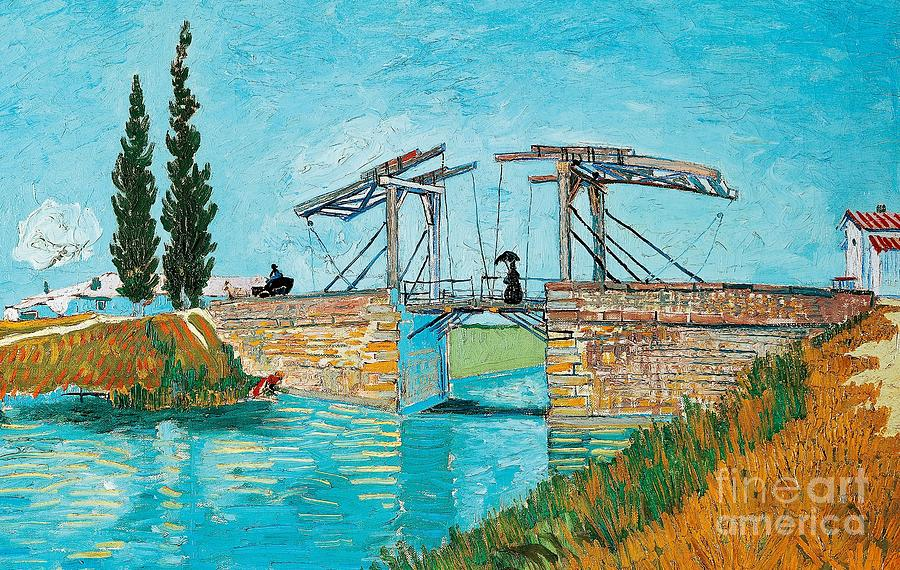Art; Painting;19th Century Painting; Europe; France; Arles; Langlois; Nederland; Holland; Van Gogh Vincent; Post-impressionism Painting - Langlois Bridge At Arles by Vincent van Gogh