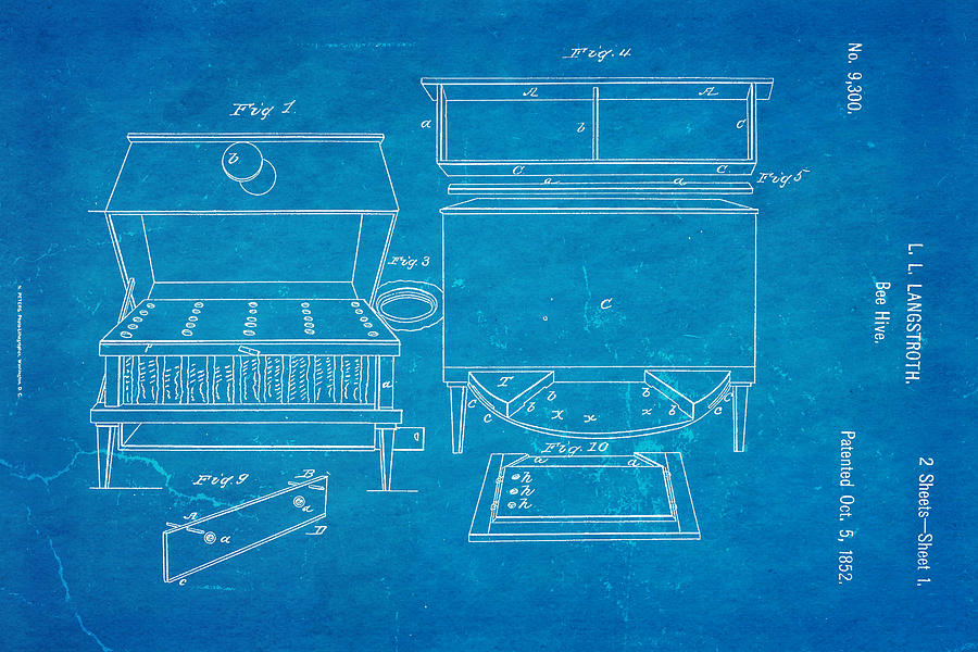 Crafts Photograph - Langstroth Bee Hive Patent Art 1852 Blueprint by Ian Monk