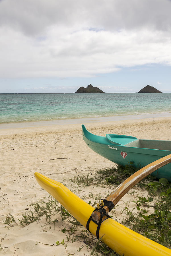 Tropic Photograph - Lanikai Beach Outrigger 2 - Oahu Hawaii by Brian Harig