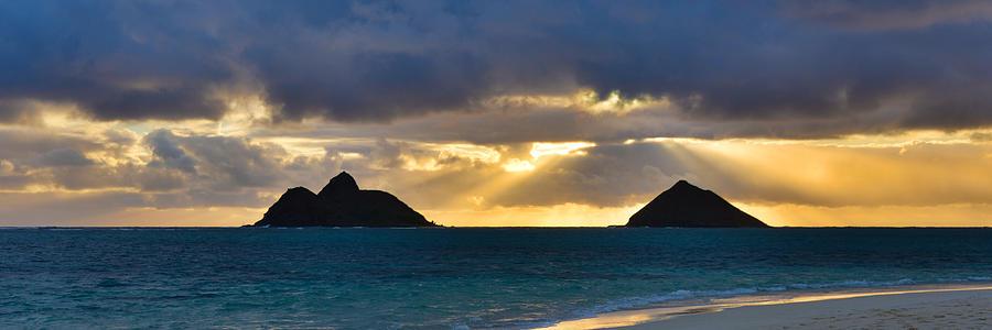 Sunrises Photograph - Lanikai Beach Sunrise Panorama 2 - Kailua Oahu Hawaii by Brian Harig