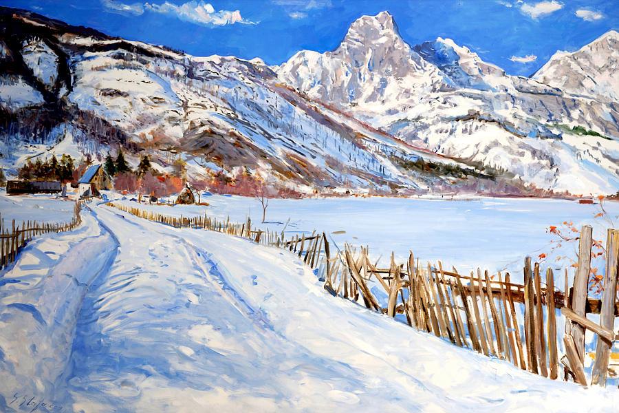 Landscape Painting - Valbona Snow - Margjeka Hotel by Sefedin Stafa