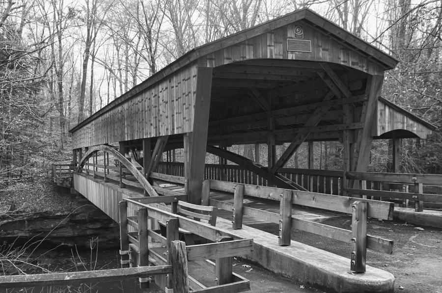 Bridges Photograph - Lanterman Falls Covered Bridge by Guy Whiteley