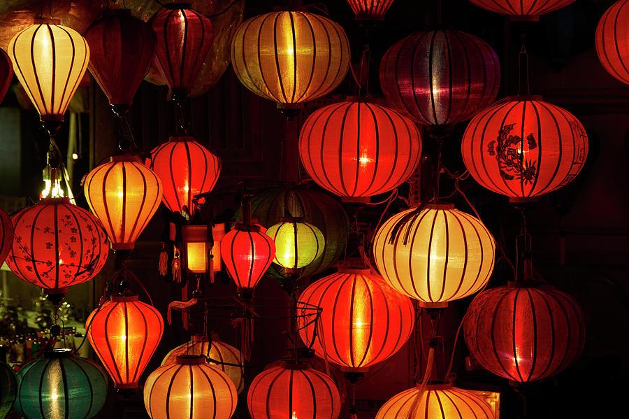 Dark Photograph - Lantern Shop At Night, Hoi An, Vietnam by David Wall