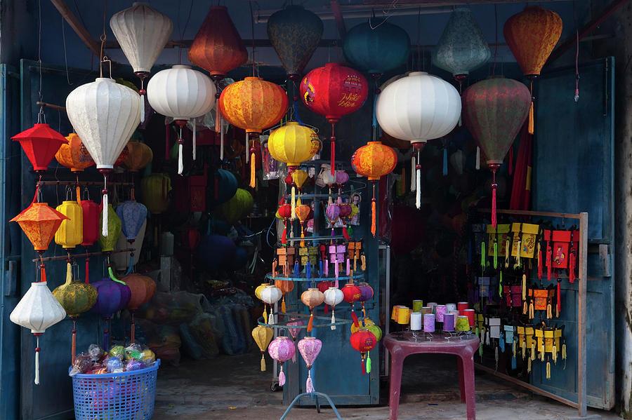 Ancient Photograph - Lantern Shop In Hoi An Ancient Town by Keren Su
