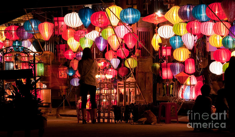 Vietnam Photograph - Lantern Stall 01 by Rick Piper Photography