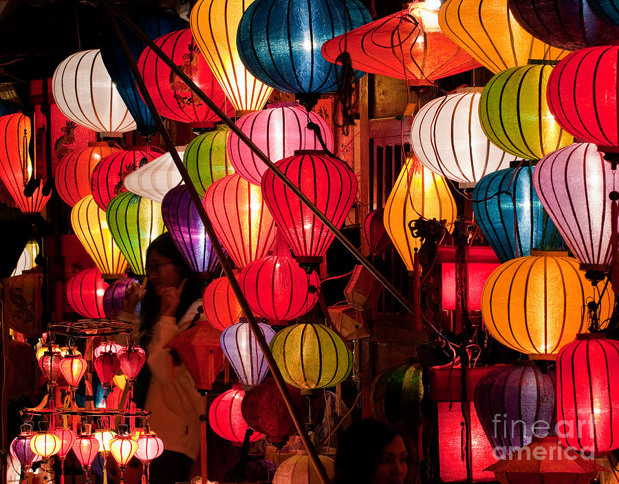 Vietnam Photograph - Lantern Stall 03 by Rick Piper Photography