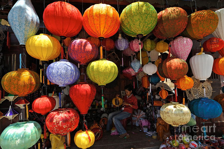 Paper Photograph - Lanterns Hanging In Shop In Hoi An by Sami Sarkis