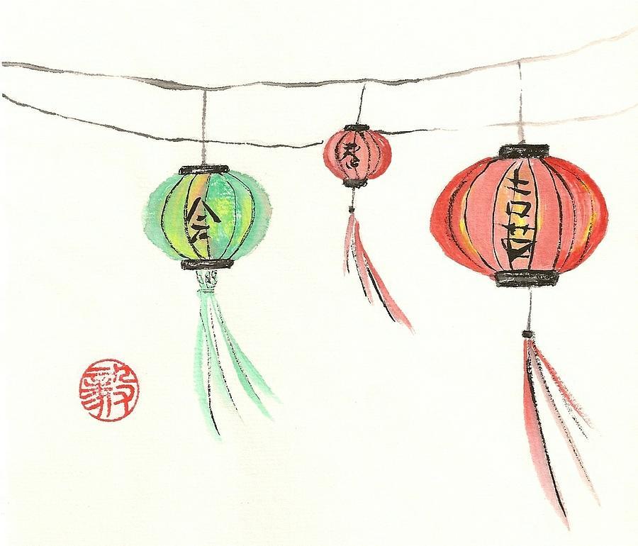 Japanese Painting - Lanterns by Terri Harris