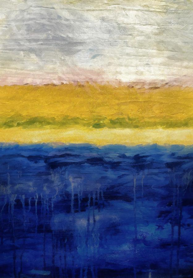 Oceanside Painting - Lapis And Gold Get Married by Michelle Calkins