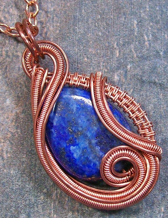 Pendant Photograph - Lapis Lazuli And Copper Sculpted Coil Pendant by Heather Jordan