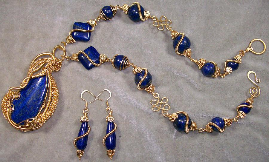 Lapis Lazuli And Gold Necklaceearring Set Jewelry by Heather Jordan