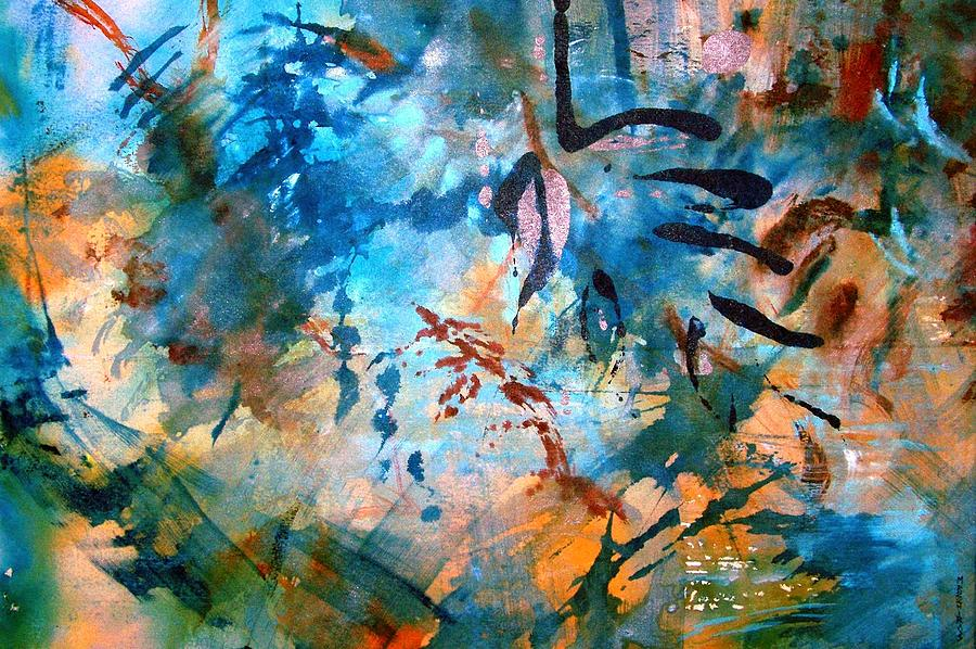 Schiros Painting - Lapis Leaves by Mary Schiros