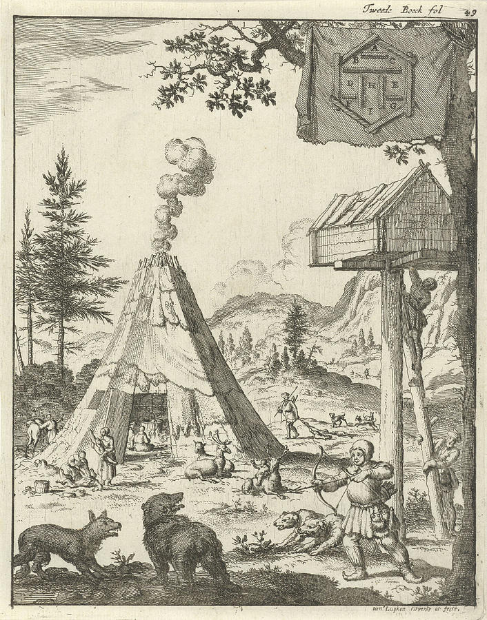 Predatory Animals Drawing - Laplander Aims His Bow And Arrow At A Wolf And A Bear by Lapland And Jan Luyken And Jan Claesz Ten Hoorn