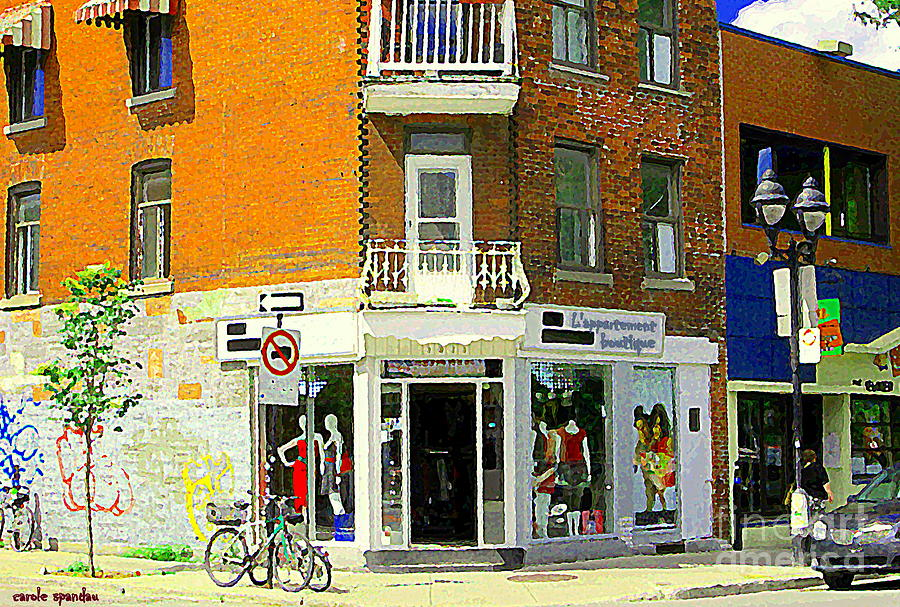 Montreal Painting - Lappartement Boutique Fashions Trendy Chic Clothing Store Ave Du Mont Royal City Scene  by Carole Spandau