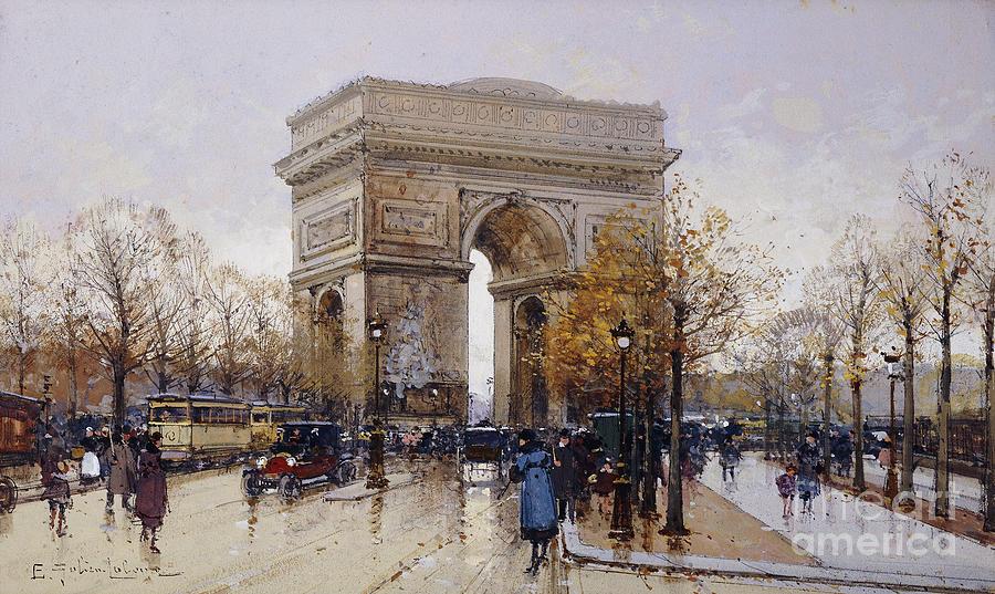 Allegiance Painting - Larc De Triomphe Paris by Eugene Galien-Laloue