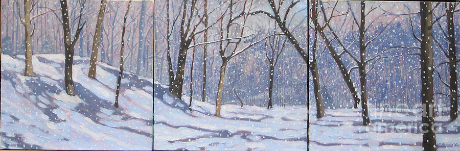 Winter Landscapes Painting - Larence Park Triptych by Joan McGivney
