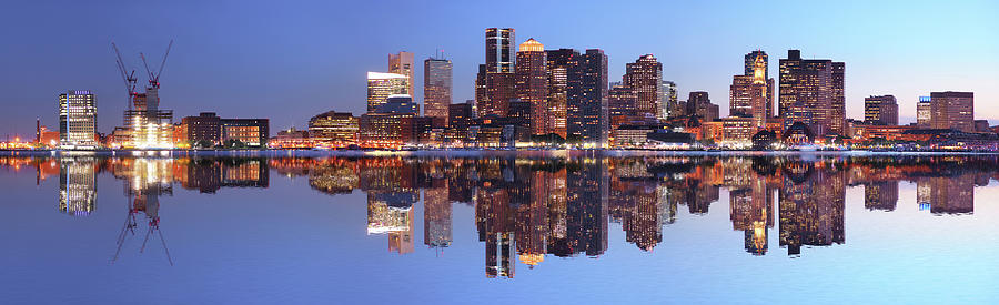 Large Boston City Panorama At Night Photograph by Buzbuzzer
