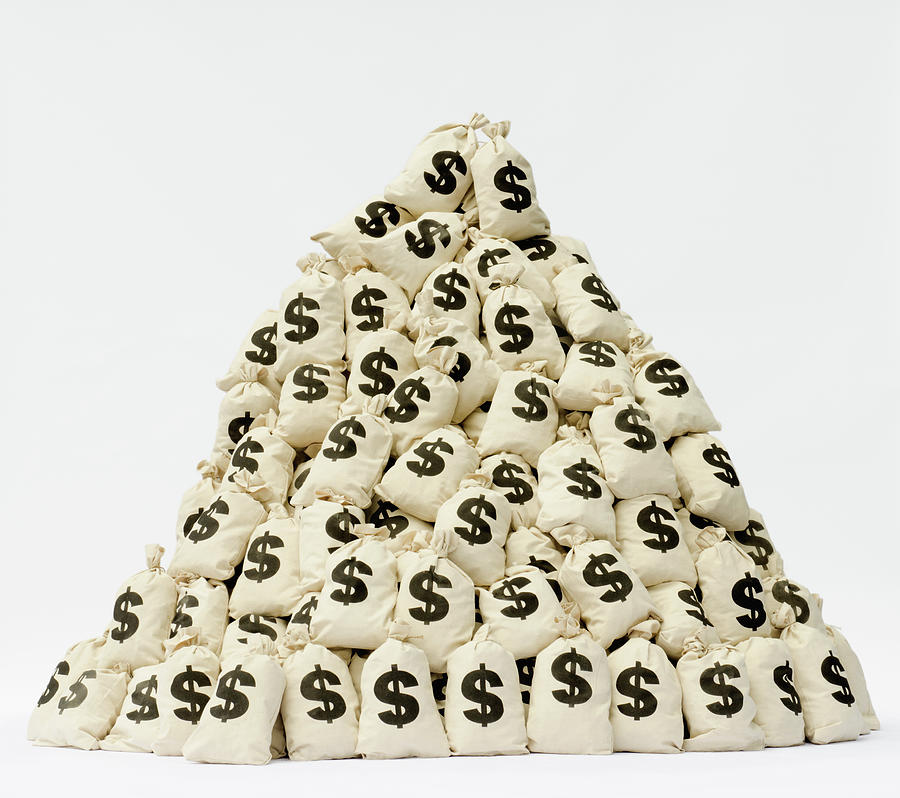 Large Pile Of Money Bags In A Pyramid Photograph by Pm Images
