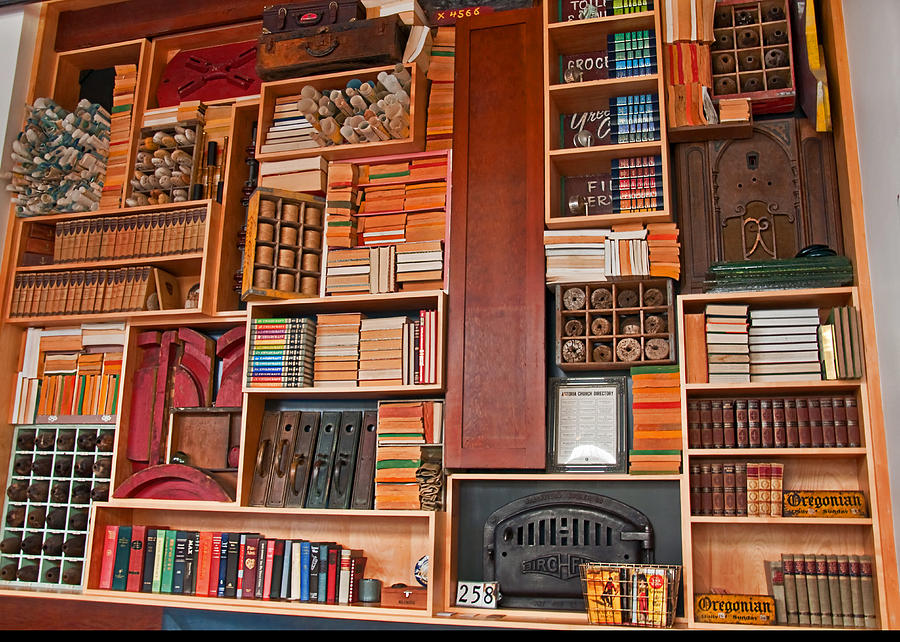 Large vintage bookcase photograph by valerie garner - Valerie garnering ...
