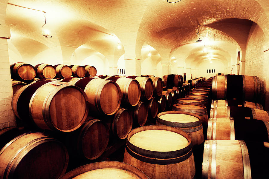 Large Winery Cellar Filled With Oak Photograph by Rapideye