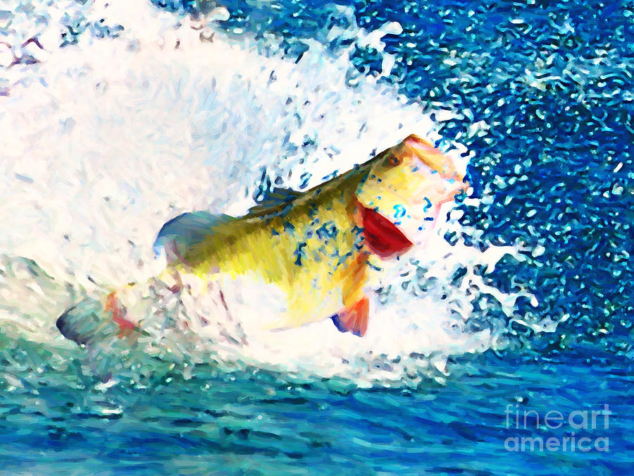 Largemouth Photograph - Largemouth Bass - Painterly by Wingsdomain Art and Photography