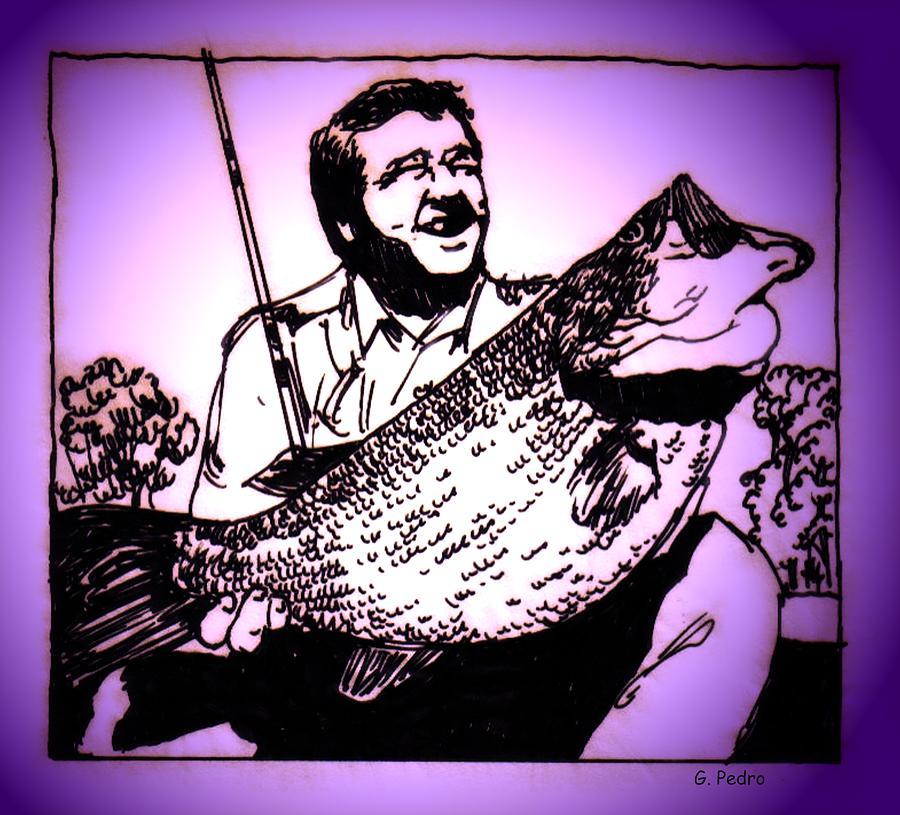 Fish Drawing - Largemouth by George Pedro