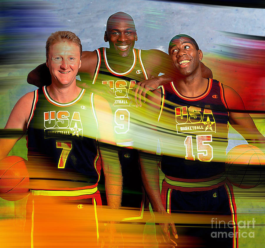 Larry Bird Michael Jordon And Magic Johnson Mixed Media by Marvin Blaine