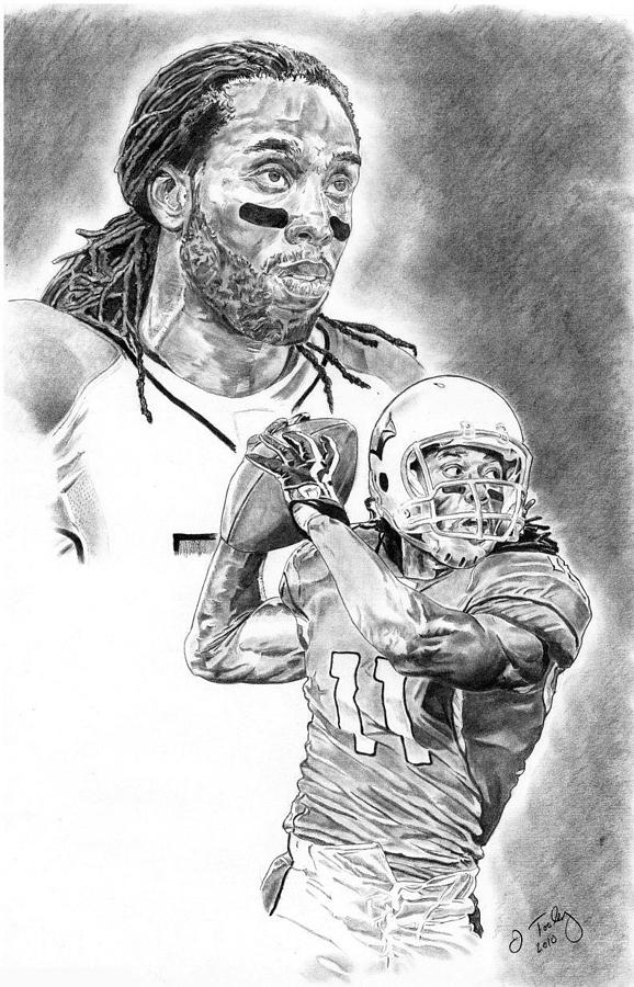 Larry Fitzgerald Drawing - Larry Fitzgerald by Jonathan Tooley