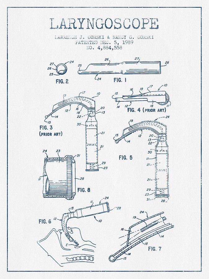 Medical Device Digital Art - Laryngoscope Patent From 1989  - Blue Ink by Aged Pixel