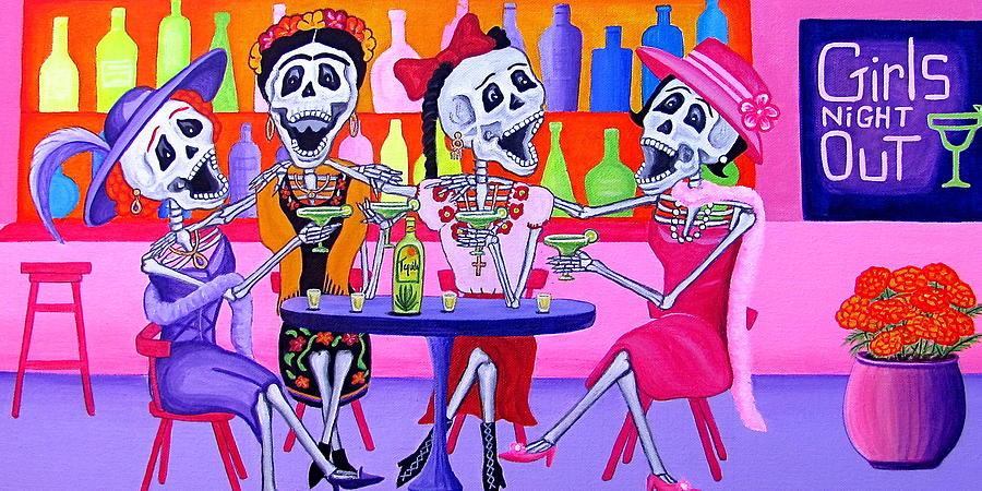 Dia De Los Muertos Painting - Las Borrachitas by Evangelina Portillo