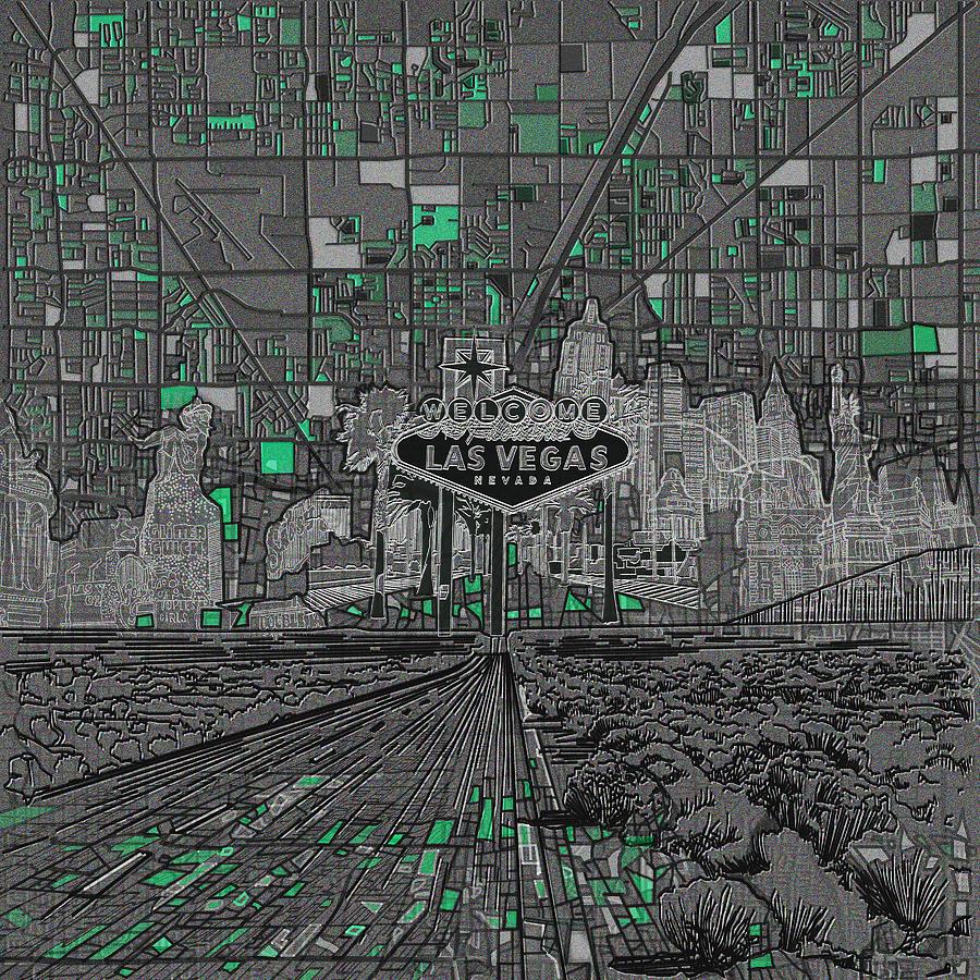 Las Vegas Painting - Las Vegas Abstract Map by Bekim M