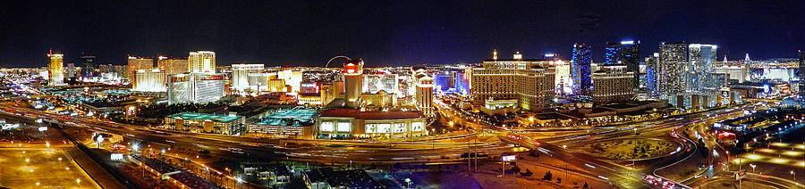 Las Vegas at Night - Panorama by Sheila Kay McIntyre