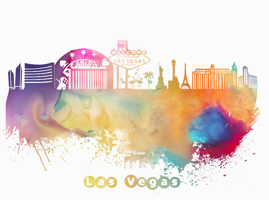 Las Vegas Digital Art - Las Vegas Nevada Skyline  by Justyna JBJart