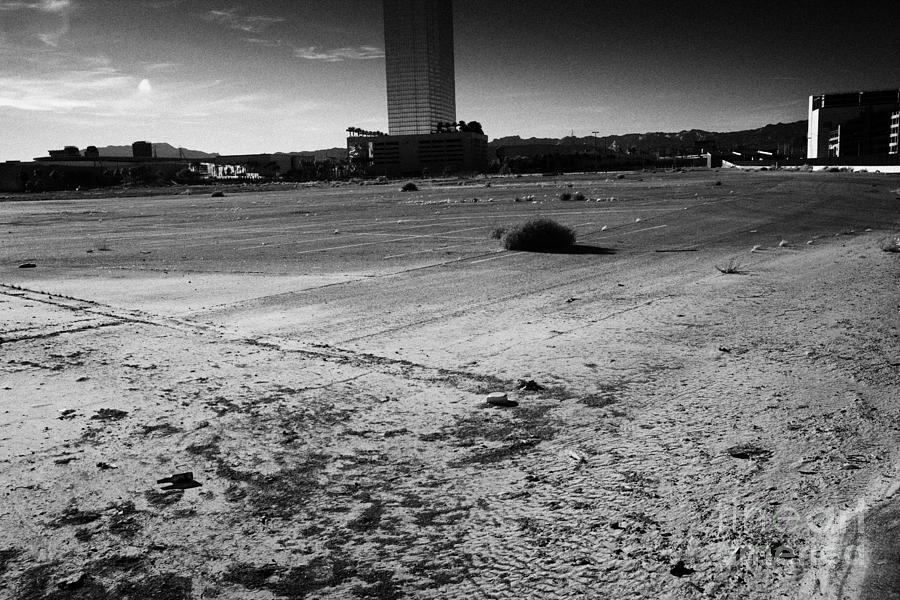 Empty Photograph - las vegas plaza empty vacant unused lot on the Las Vegas strip Nevada USA by Joe Fox