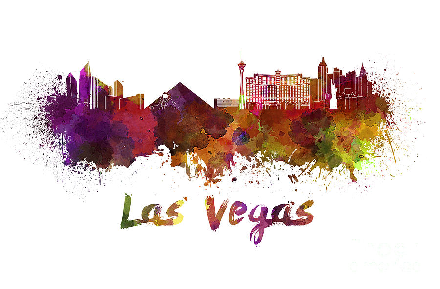 Las Vegas Skyline In Watercolor Painting By Pablo Romero