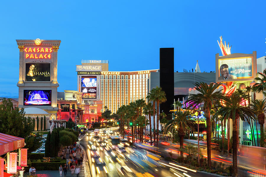 Las Vegas Strip At Dusk With Hotels And Photograph by Sylvain Sonnet