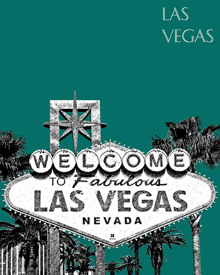 Architecture Digital Art - Las Vegas Welcome To Las Vegas - Sea Green by DB Artist