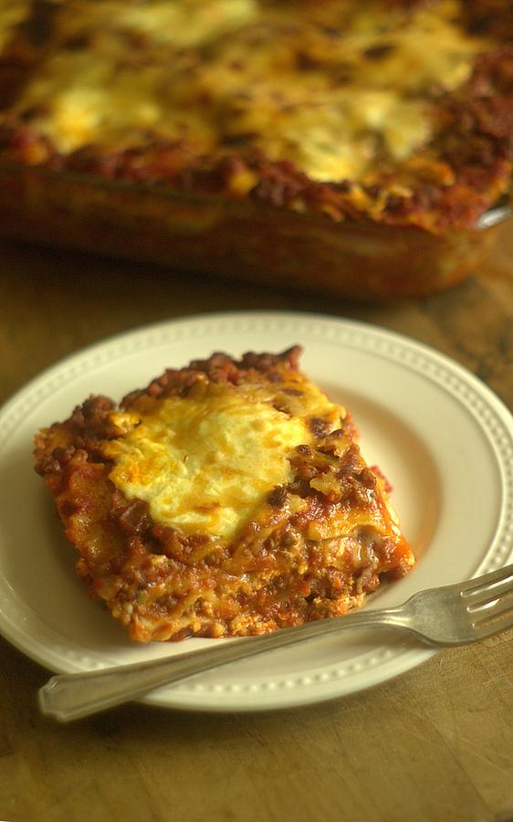 Lasagna Photograph - Lasagna On A Plate by Suzanne Powers