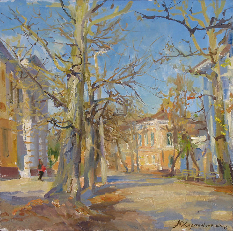 Fall Painting - Last Autumn Day by Victoria Kharchenko