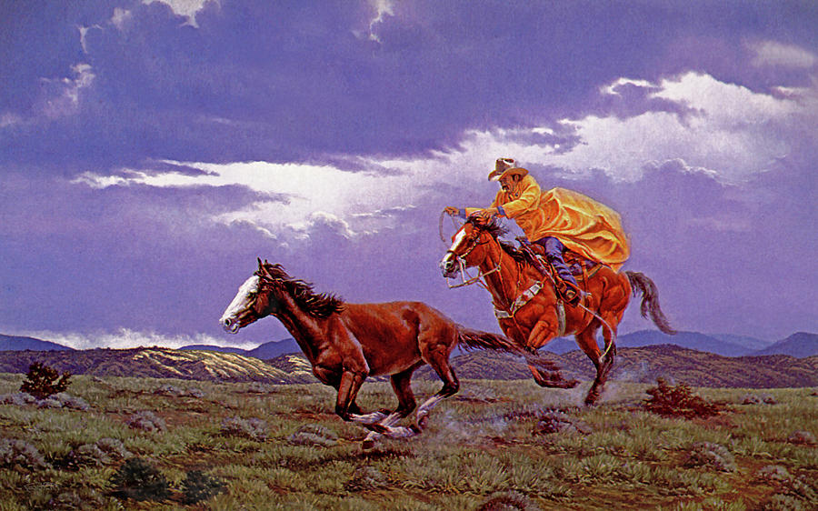 Cowboy Painting - Last Dash For Freedom by Randy Follis